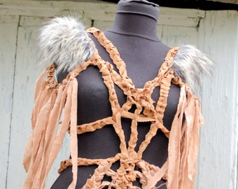 Body Harness, steampunk, apocalypse,warrior woman, mad max, faux fur, fetish, bdsm,playsuite,zombie fighter, Gods of the arena, unisex,brown
