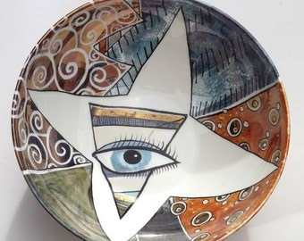 Kitty Eye lustre bowl. Hand painted. One of a kind. Future heirloom. Modern ceramics,  Coffee table art, Painted bowl, Original design