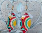 Women's earrings, African gift, exotic ethnic earrings, teardrop, handpainted, vegan leather, eco friendly, African tribal earrings , Aztec