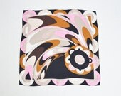 Vintage 90s Emilio Pucci Silk Abstract Print Square Scarf