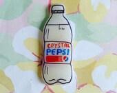 crystal pop pin, cola brooch