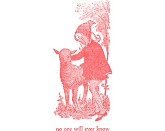 Nefarious Little Bo Peep & Lamb - Ridiculous Letterpress Card - No One Will Ever Know