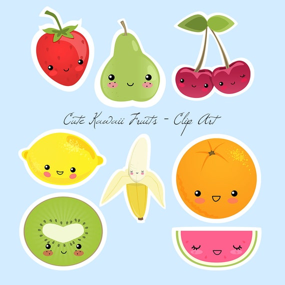 Cute Kawaii Fruits Digital and Printable Clipart