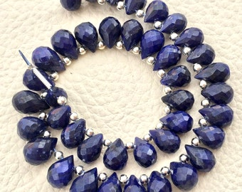 Special 20 Pieces,New Arrival, Dyed Natural BLUE SAPPHIRE Faceted Drops Shape Briolettes, Aprx.8-9mm Long, Finest Item
