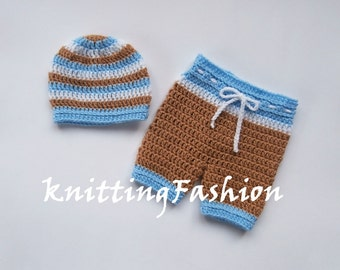Baby Boy First Outfit _Baby Boy Hat and Crochet Shorts _Baby Boy First Outfit_ Newborn Boy Crocheted Beanie and Shorts