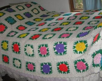 Handmade Crocheted ROSES Flowers Granny Squares Large Afghan Blanket