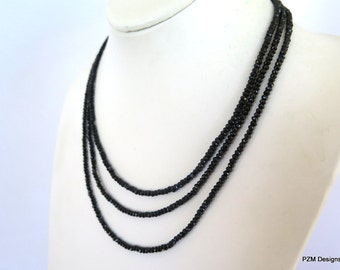 Triple strand black spinel necklace, fine jewelry gift for her