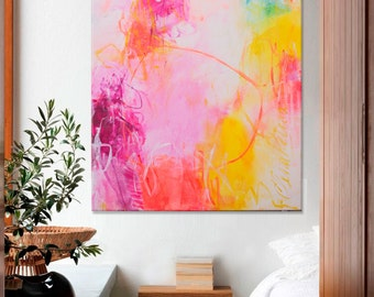 Abstract Painting Large white pink turquoise vertical painting modern wall art Elena - magnificent May -40x30