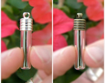 SMALL TUBES Glass Vials w/ plain caps (small/6mm/empty/flat-bottomed/miniature/pendants/charms/clear/bottles/with/metal/lids/tops)