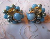 Vintage Gold Tone Medium and Light Blue and Clear Gold Glass Beaded Clip On Earrings from Japan
