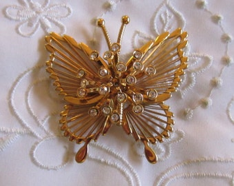 Vintage Gold Tone Monet Butterfly Brooch with Tiny Clear Faceted Rhinestones