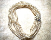 Reserve for Joanna Ivory Faux Pearl Necklace Vintage Choker
