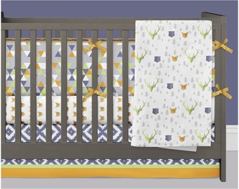 Woodland Crib Bedding Boy, Fox Nursery Bedding Baby Crib Set Moose Bear Arrow Tribal Aztec Southwest Triangles Navy Lime Orange Gray Nursery
