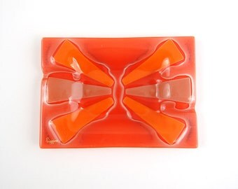 Higgins Glass Orange Red Modern Starburst Tray Signed