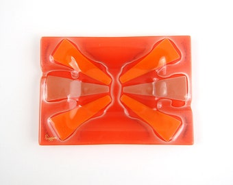 Higgins Glass Orange Red Modern Starburst Tray Signed
