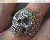 ON SALE SALE......Large sugar skull ring in sterling silver