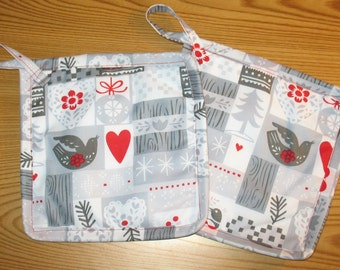 Winter Birds Set of 2 Potholders