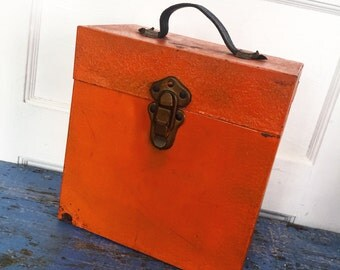 Rusty Orange Industrial Metal File Box, Leather Handle Box, Vintage Halloween Decor, Vintage Metal Box, Vintage Orange Box, Industrial Box