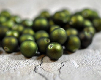 Olive green rubber beads, acrylic core, 9mm -  #119