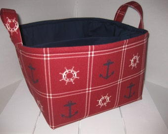 Clearance ! Ready to Ship !! Large Diaper Caddy / Organizer Bin /Red White Navy Blue Anchor Nautical - As is