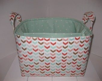Large Diaper Caddy / Organizer Bin / Pink Mint Green Gold Chevron - Personalization Available