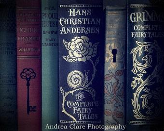 Still life, Books, Fine art Photography, Photo, Dark, Read, Photo, Key, Key Hole, Fairy Tales, Blue, France, Red, Grimms, Art, Print, Novels