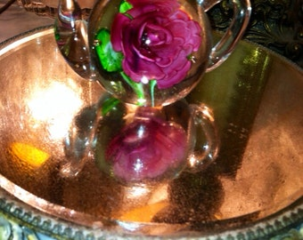 Vintage paper weight crystal glass rose in teapot