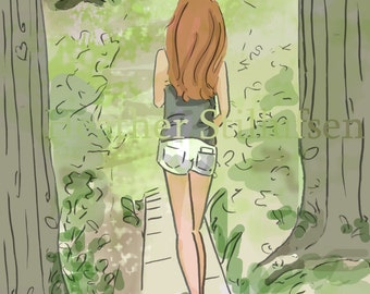 Wall Art for Women - A Walk In the Woods. Be Brave. Stand Tall. - Wall Art Print -  Digital Art Print -  Wall Art -- Print