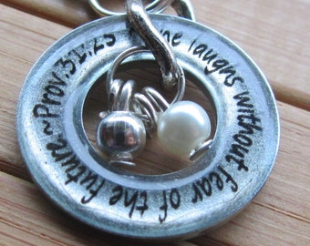 She laughs without fear of the future... Proverbs 31...13/16 inch washer word quote scripture pendant with chain