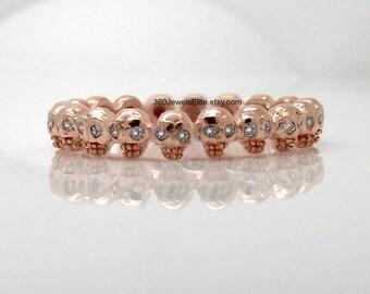 Midi ring, diamond eyes skull eternity ring, solid rose gold ring, tiny ring, goth stack, alternative wedding ring, diamond skull ring