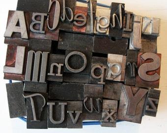 Mixed Alphabet A-Z Metal Letterpress Large Type Vintage Altered Art Home Decor Printing
