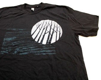 Mens Black T-Shirt with Blue Full Moon and Trees Print S, M, L, XL
