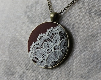 Brown Pendant, Rustic Wedding, Retro Necklace, Boho Wedding, Bridesmaid Gift for Women, Girlfriend, Teacher, Brown Necklace, Lace Necklace