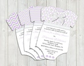 Lavender and Gray One-piece Baby Shower Invitations- Girl - Set of 25 - PRINTED