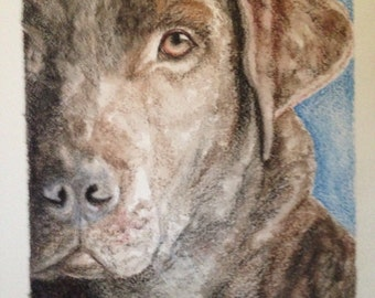 Chocolate Labrador painting, pet portrait, Pet memorial, chocolate lab, Dog art, watercolor, mixed media.