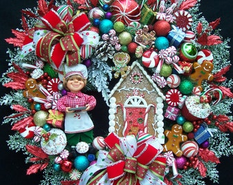 Lg Christmas Karen Didion Elf And Raz Gingerbread House Wreath  Gingerbread Anyone