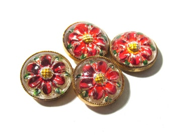 Reverse Painted Glass Buttons Flowers West Germany VINTAGE Buttons Four (4) Red Flowers Vintage Buttons Jewelry Sewing Supplies (F202)