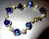 1940s Costume Jewelry: Necklaces, Earrings, Brooch, Bracelets 1940s Sodalite  Pearl Bracelet Lovely $65.00 AT vintagedancer.com