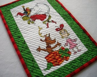 Grinch Snack Mat Dr. Seuss Christmas Quilted Mug Rug