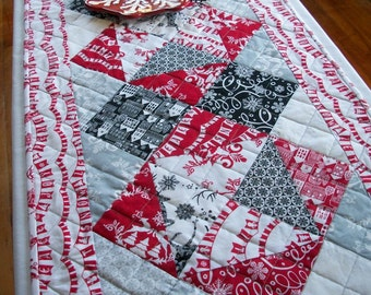 Winter Table Runner Quilted Black White Red Gray Snow Quiltsy Handmade FREE U.S. Shipping