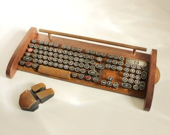 Keyboard Mouse Wireless Combo - NEW EX RUST Model - Antique looking Victorian Retro Styling - Steampunk - Typewriter- Heavy Duty metal base