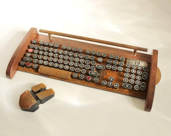 Keyboard Mouse Wireless Combo - NEW EX RUST Model - Antique looking Victorian Retro Styling - Steampunk - Typewriter- Heavy Duty metal base