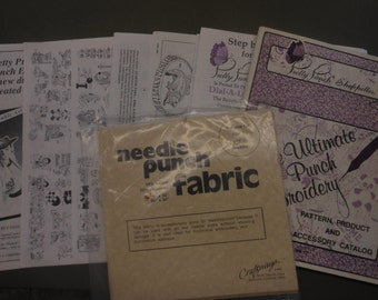 vintage needle punch booklets and fabric 1988