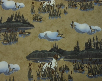 Fabric by the yard, 5 yards Moda Northern Flight by Holly Taylor, tan background, cabin, mountain, lodge, deer, one yard, 54 inches wide