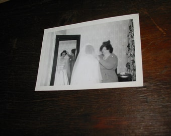 Vintage Bride and Mom Snapshot Mildred and Her Mom Vintage  Wedding Dress and Veil Old Photo