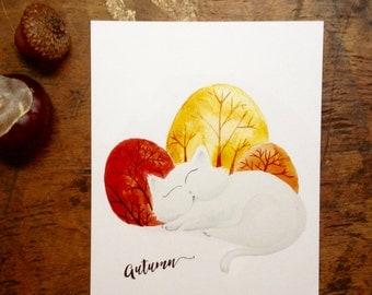 Sleepy cat Autumn Post Card