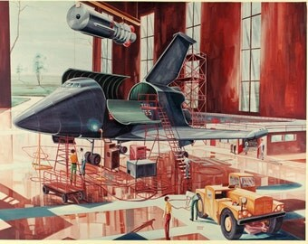 Space Shuttle Concept Drawing, Archival Quality Print