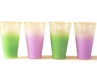 Blendo Frosted Glass Glasses | Gold Rim | Green | Purple | Pastel | Drinking | Set of Four | Mid Century | Mad Men | Glassware