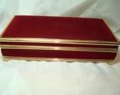 1975 Burgundy Velvet Large Mirrored Jewelry Box with Gold Metal Trim.
