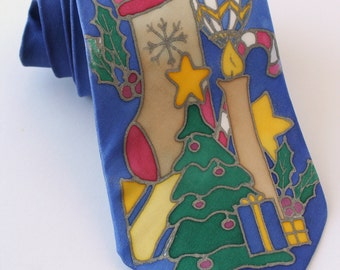 Christmas holiday tie for him , festive holiday necktie for Christmas, snowman